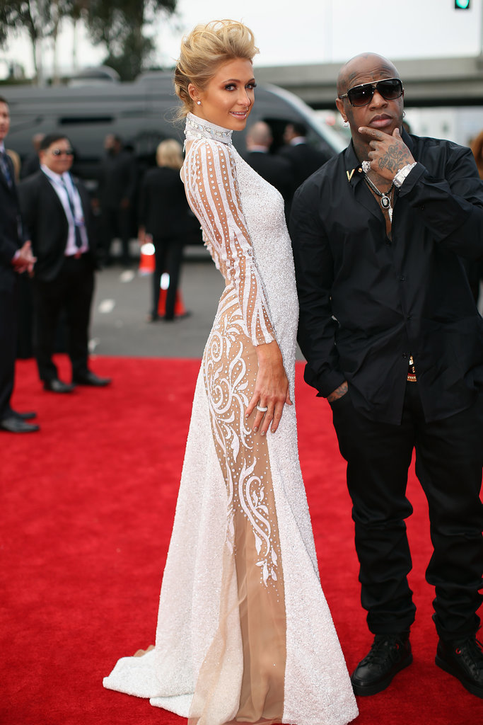 Paris Hilton and Birdman at the 2014 Grammy Awards.
