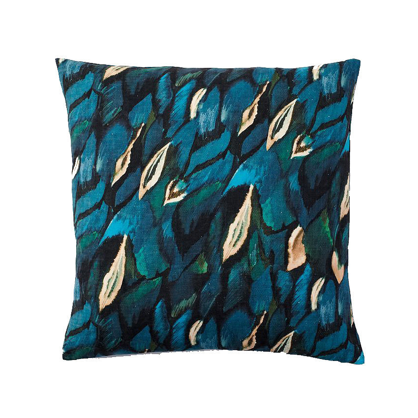 Printed on raw silk, this peacock pillow ($20, originally $39) offers the look of art.