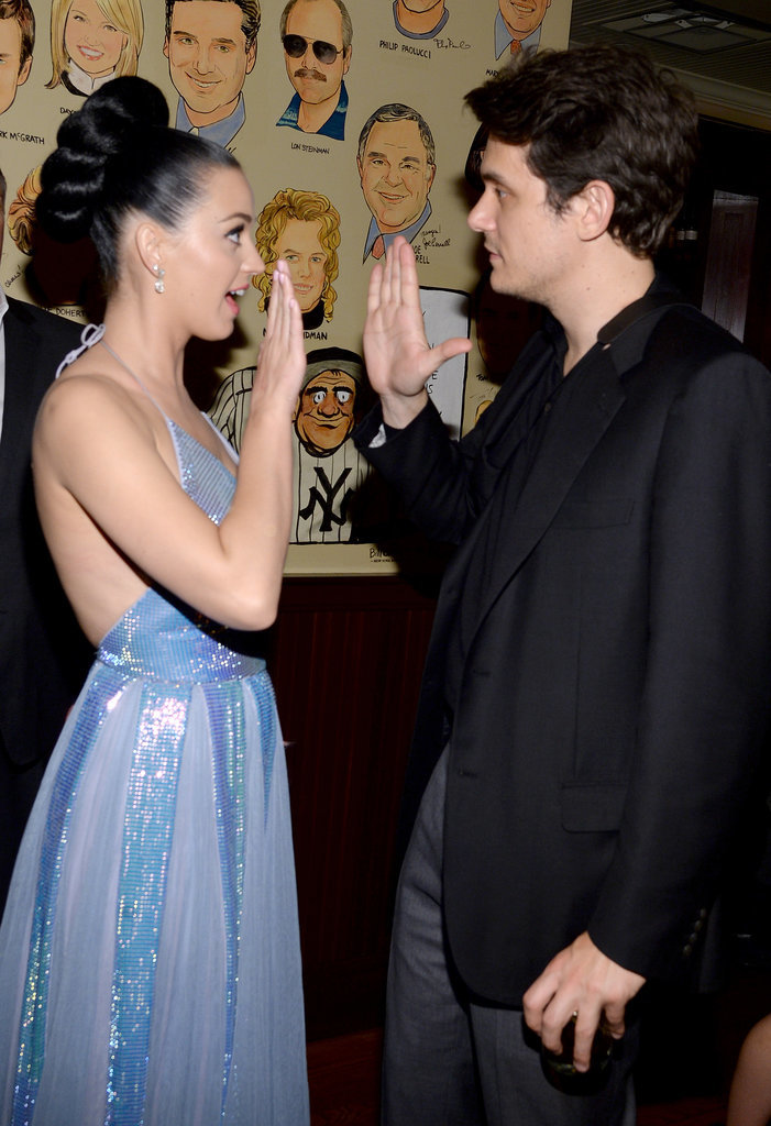 Katy Perry got a high five from John Mayer at the Sony Music bash.