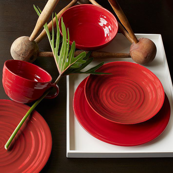 Liven up your dinner table and serve guests using these red plates ($40-$48). They pair perfectly with gold flatware.