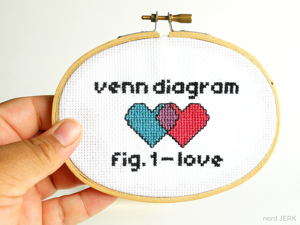 This venn diagram of love cross stitch ($18) is a DIY kit, meaning it will be all the more special once you hand make it on your own.