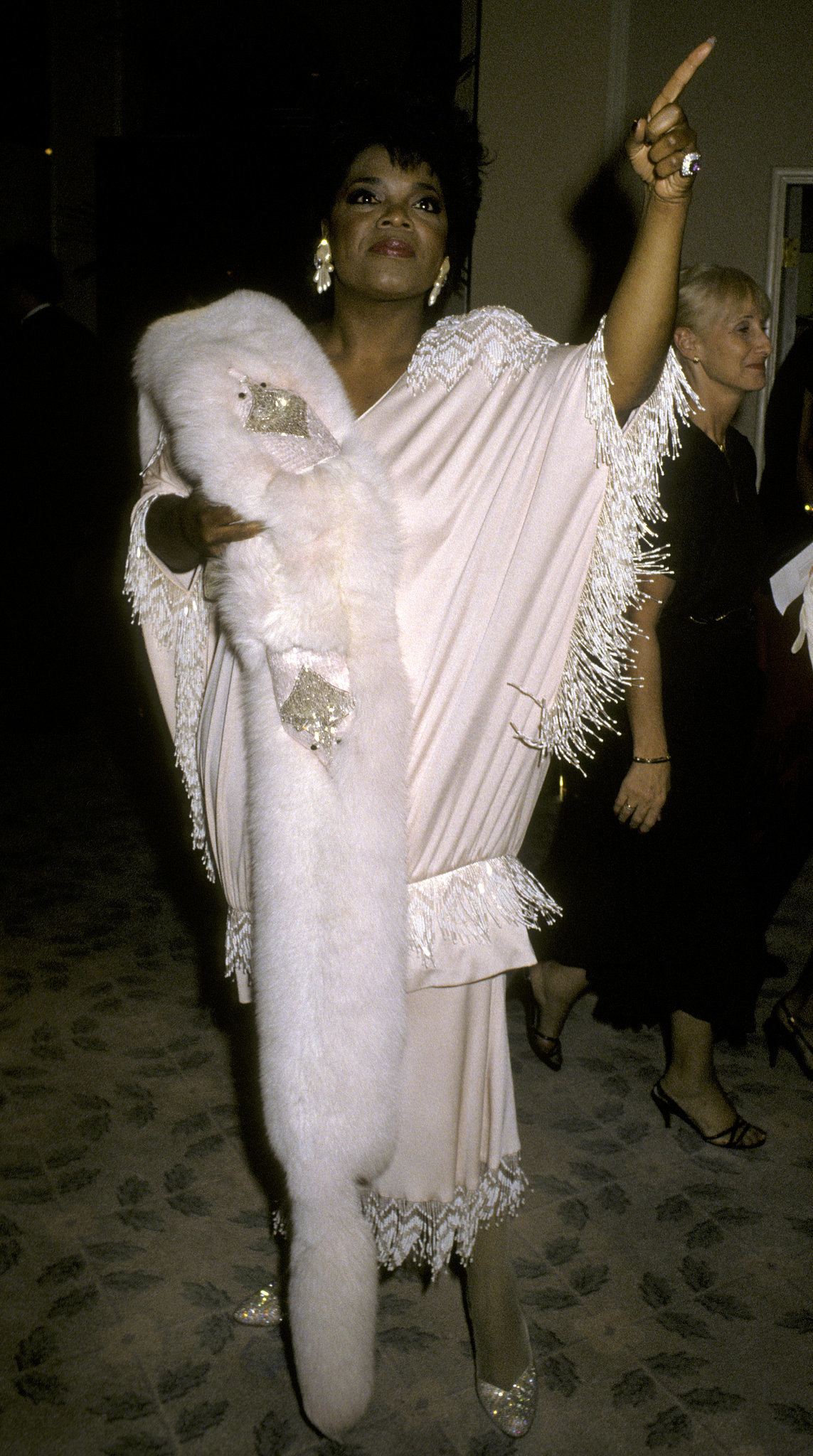Oprah arrived in style at the 1986 Golden Globe Awards.