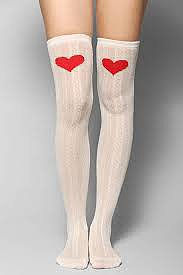 Heart Knee Cable-Knit Over-the-Knee Sock