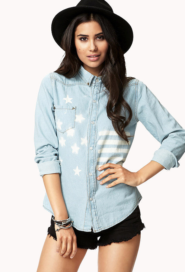 Forever 21 American Flag Chambray Shirt