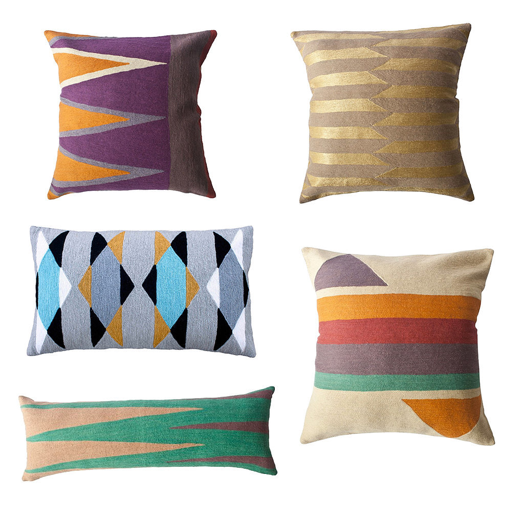 Leah Singh's geometric pillows ($53-$150) combine traditional Indian craftsmanship with strikingly modern aesthetics, a pairing that's hard to resist!  — AE