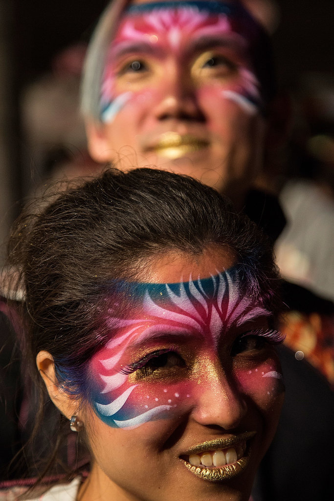 Performers in Hong Kong wore face paint for the Cathay Pacific International Chinese New Year Night Parade.