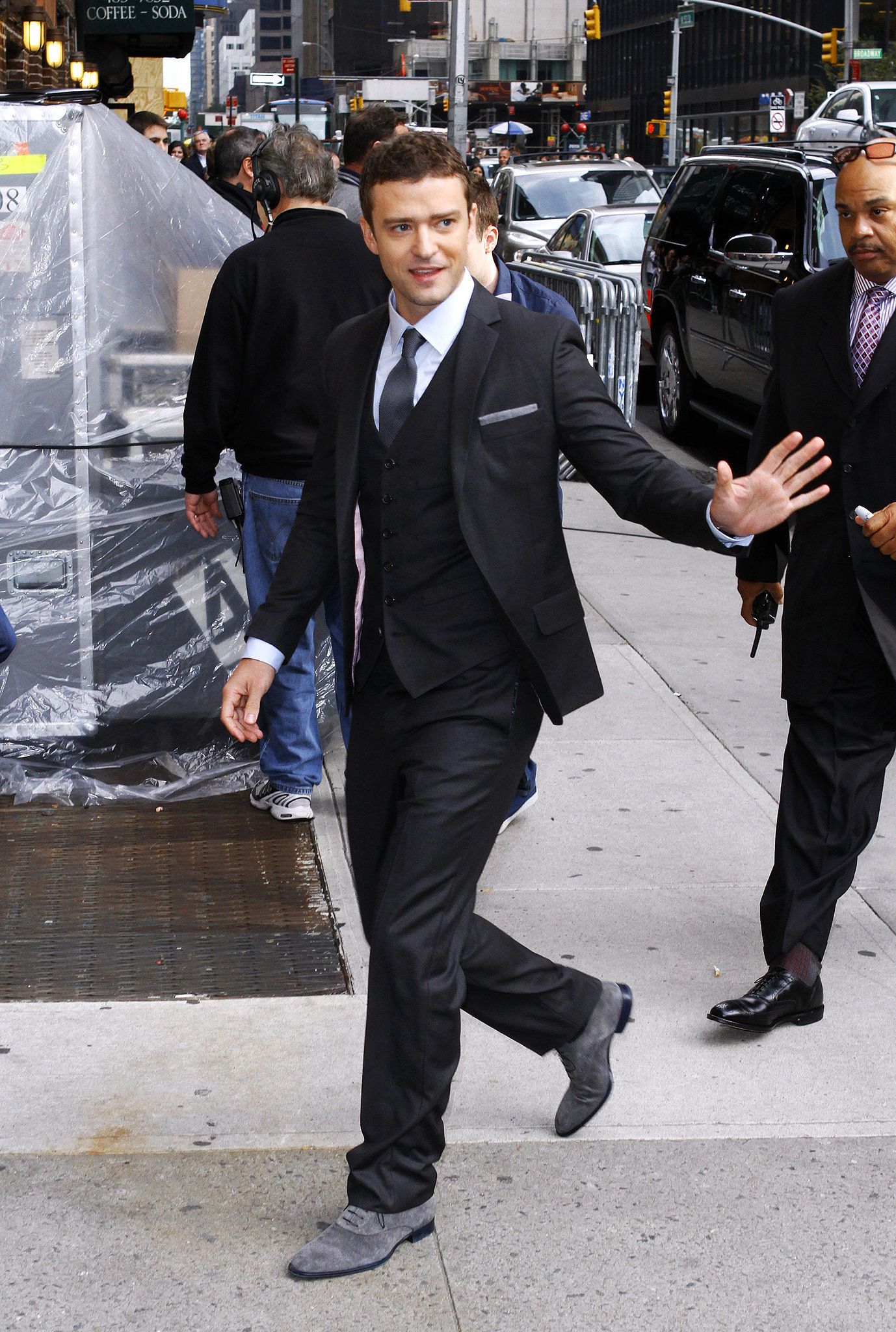 Justin hurried onto the set of Late Show With David Letterman in a button-down look in 2011.
