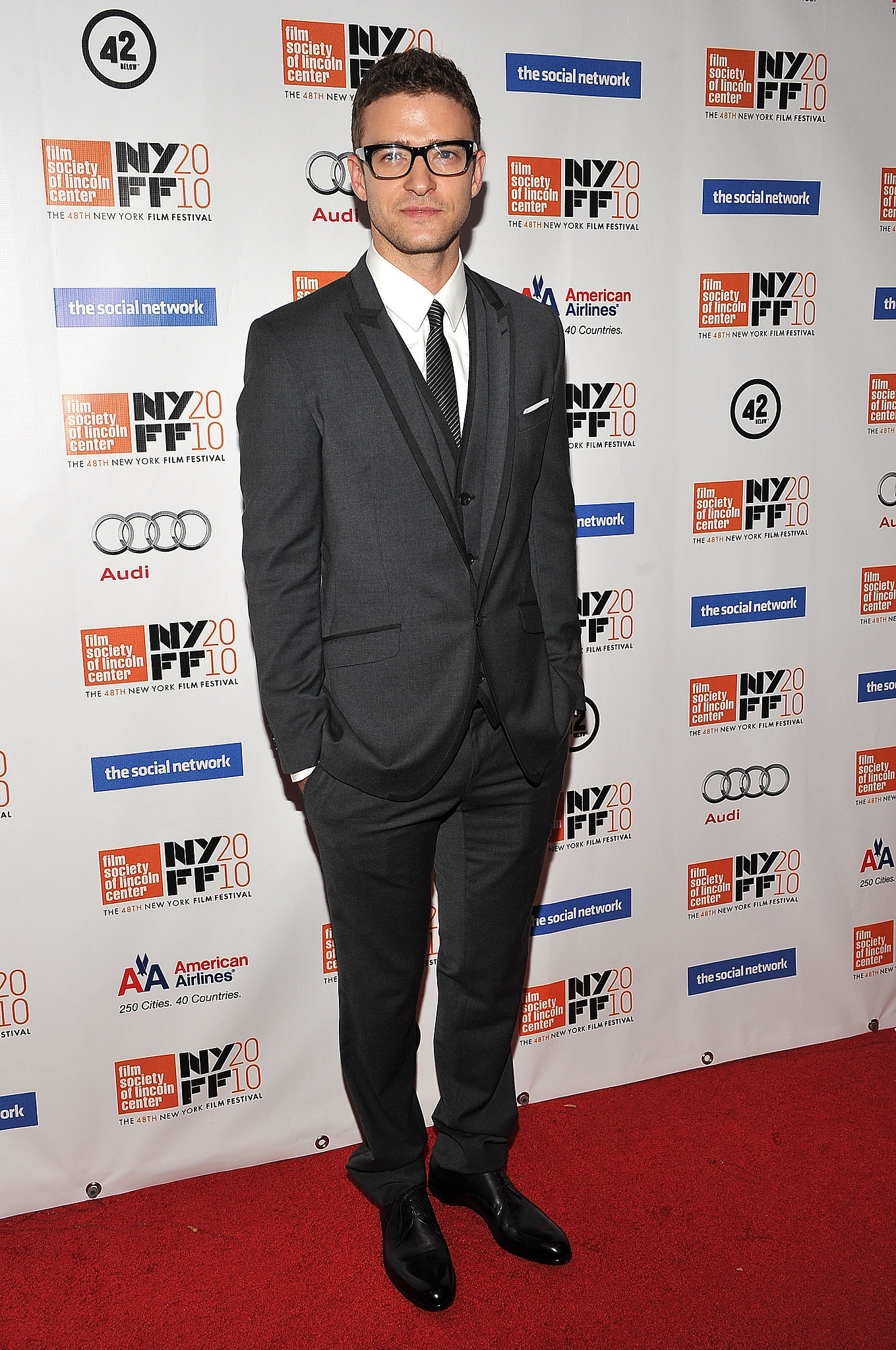 Justin paired his dapper look with thick-framed glasses at the New York Film Festival in 2010.