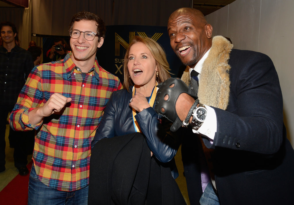 Andy Samberg and Terry Crews got goofy with Katie Couric at the pregame show.