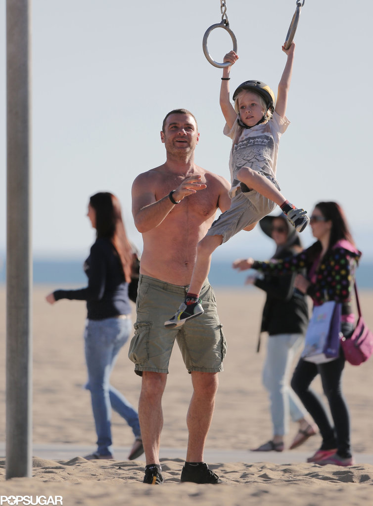 Liev Schreiber gave his son Sasha a lift at a park in LA on Saturday.