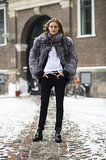 Now's the time to embrace luxe texture like a furry coat — the perfect antidote to black skinny jeans. Source: Le 21ème | Adam Katz Sinding