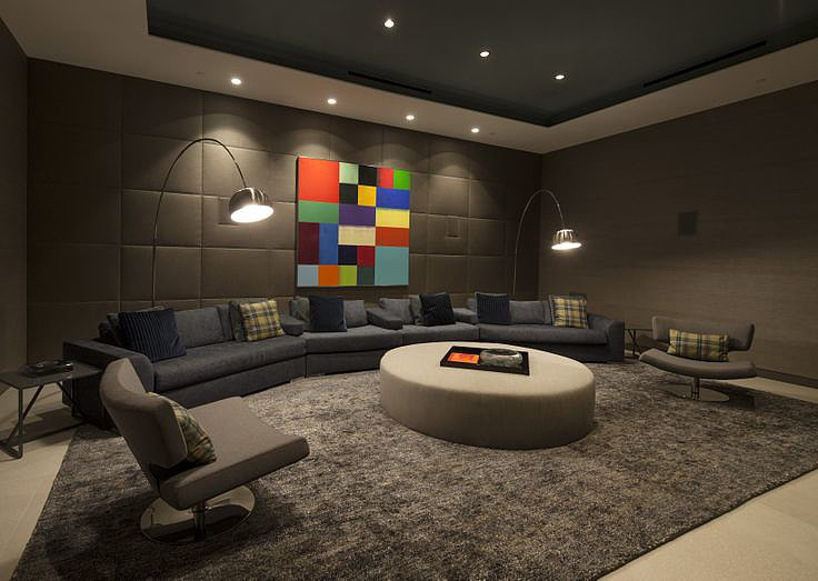 The cozy media room feels quiet and secluded. Source: The Agency