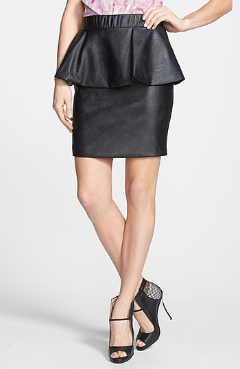 Glamorous Faux Leather Peplum Skirt