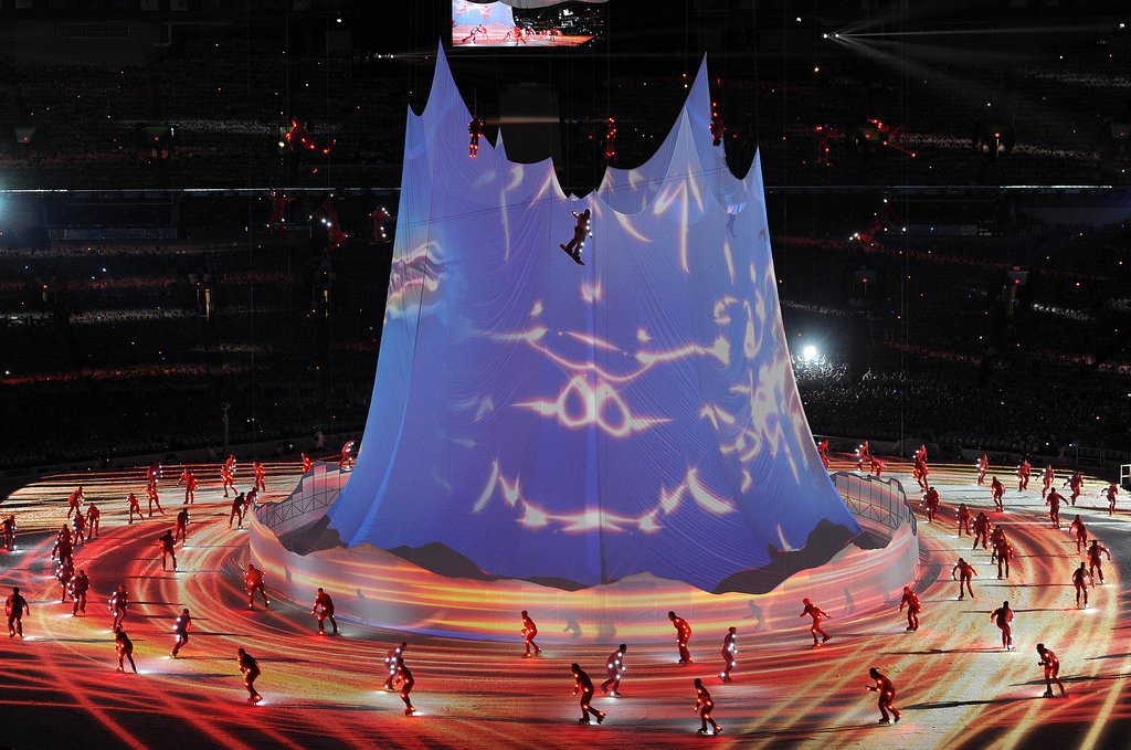 And skaters sped around a big tent.