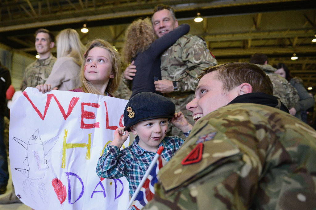 A member of 617 Squadron was all smiles when he was reunited with his family.
