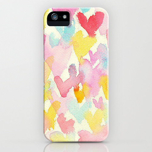 Heart watercolor case ($35) for iPhone models and Samsung Galaxy S4