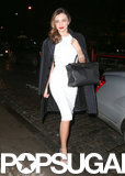 On Tuesday, Miranda Kerr wore a white dress while out and about in NYC.