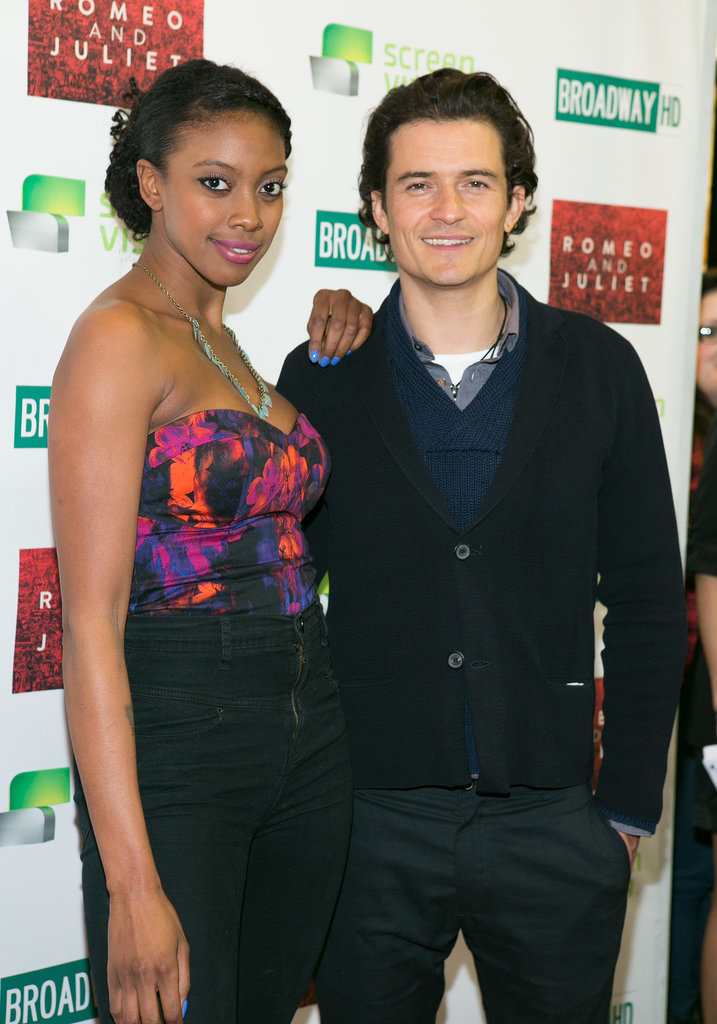 Orlando Bloom joined up with Condola Rashad for the film premiere of their Broadway play, Romeo and Juliet, in NYC on Tuesday. Selected theaters will screen tapings from the play.