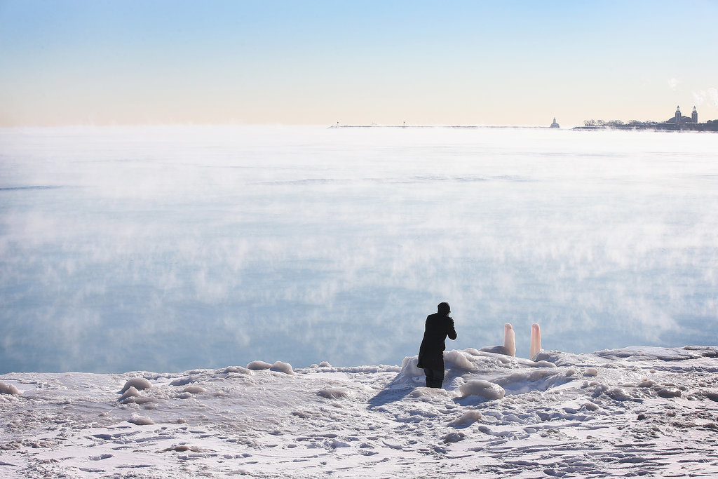 Steam rose from Lake Michigan when temperatures hit -15ºF in Chicago.