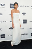 Chanel Iman, wearing Calvin Klein, at amfAR's New York Gala.