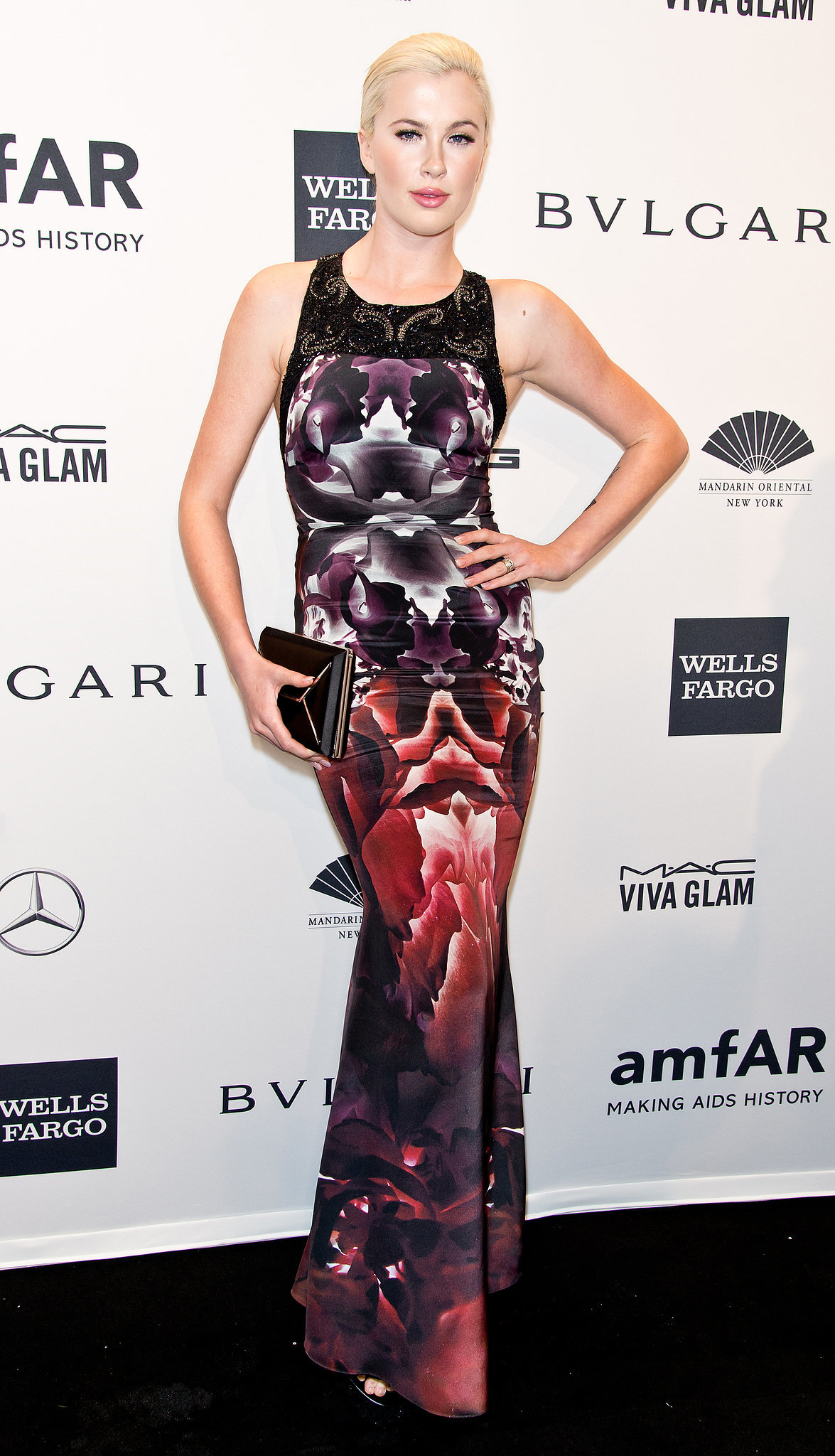 Ireland Baldwin, wearing Gabriela Cadena, at amfAR's New York Gala.
