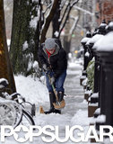 On Wednesday, Matthew Broderick shoveled his sidewalk.
