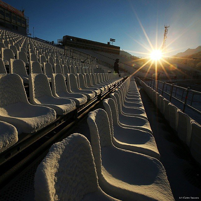 Snow covered seats in a Sochi stadium.  Source: Instagram user Olympics