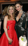 Jennifer met up with model Miranda Kerr during Vanity Fair's post-Oscars bash in February 2013.