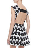 Theyskens' Theory Backless Black and White Geometric Print Dress ($465)