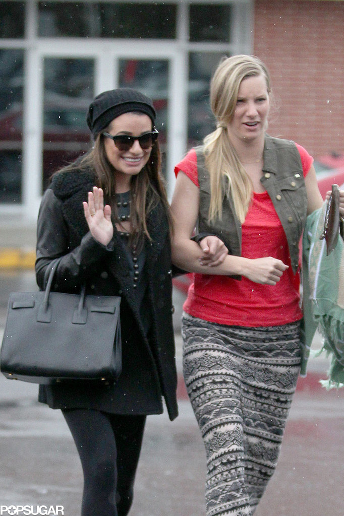 Lea Michele and her Glee costar Heather Morris went shopping in LA on Thursday.