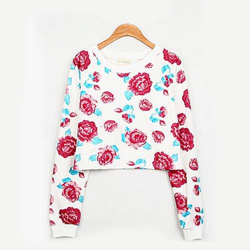 [grxjy560852]Rose Flowers Print Short Crewneck Pullover Slouch Sweatshirt