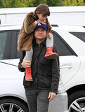Jason Bateman held his daughter Francesca during a trip to the farmers market in LA on Sunday.