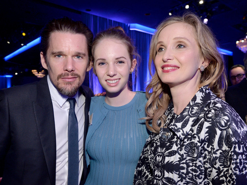 At the Academy Awards Nominee Luncheon, Ethan Hawke was accompanied by his Before Midnight costar Julie Delpy and his daughter, Maya Thurman-Hawke.