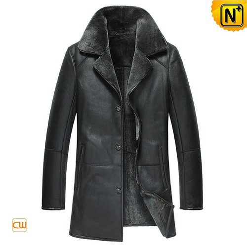 Black Mens Sheepskin Leather Coat CW877180