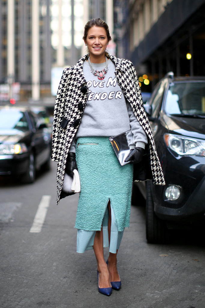Nothing like a statement sweatshirt to remix a polished pencil skirt and houndstooth coat.