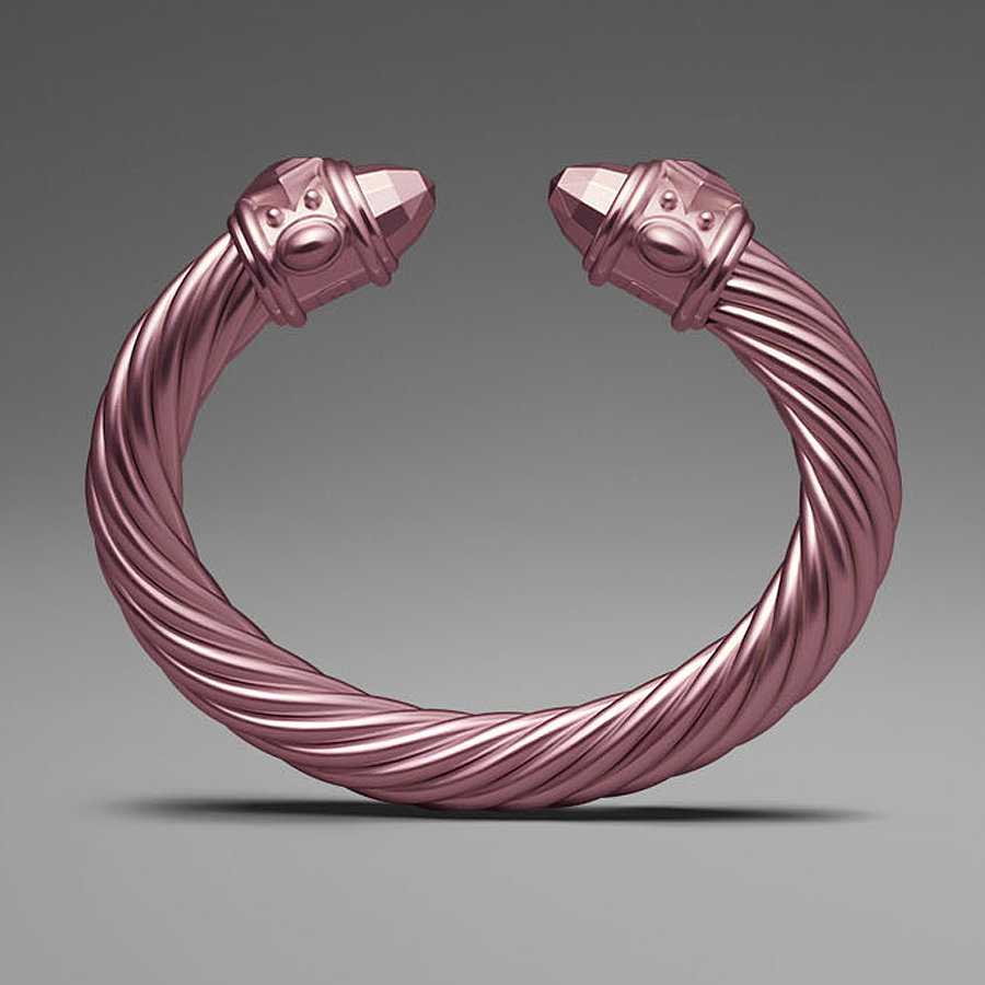 David Yurman Light Pink Aluminum Cable Bracelet