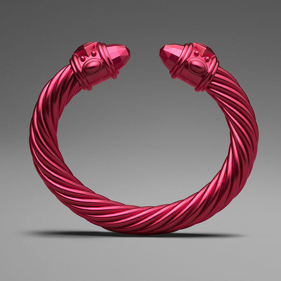 David Yurman Red Aluminum Cable Bracelet