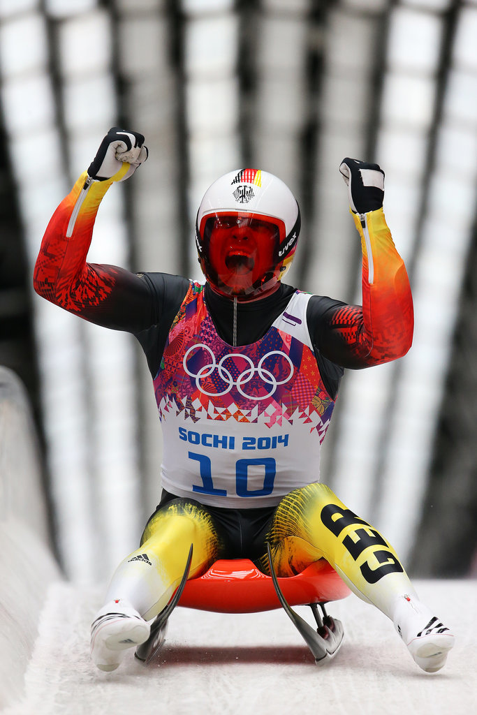 Felix Loch of Germany celebrated after taking the top spot in the men's luge singles.