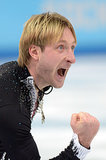 Evgeni Plushenko celebrated after he and his 15-year-old figure-skating teammate, Julia Lipnitskaya, helped win Russia its first gold medal of the 2014 Games.