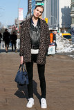 She nailed street-chic with leopard print and leather.