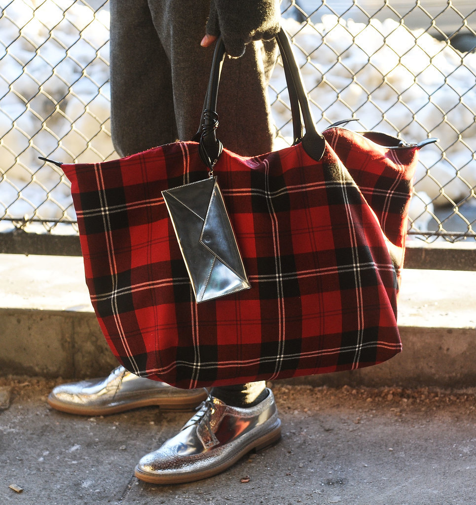 Plaid and metallics team up for a cool combo.