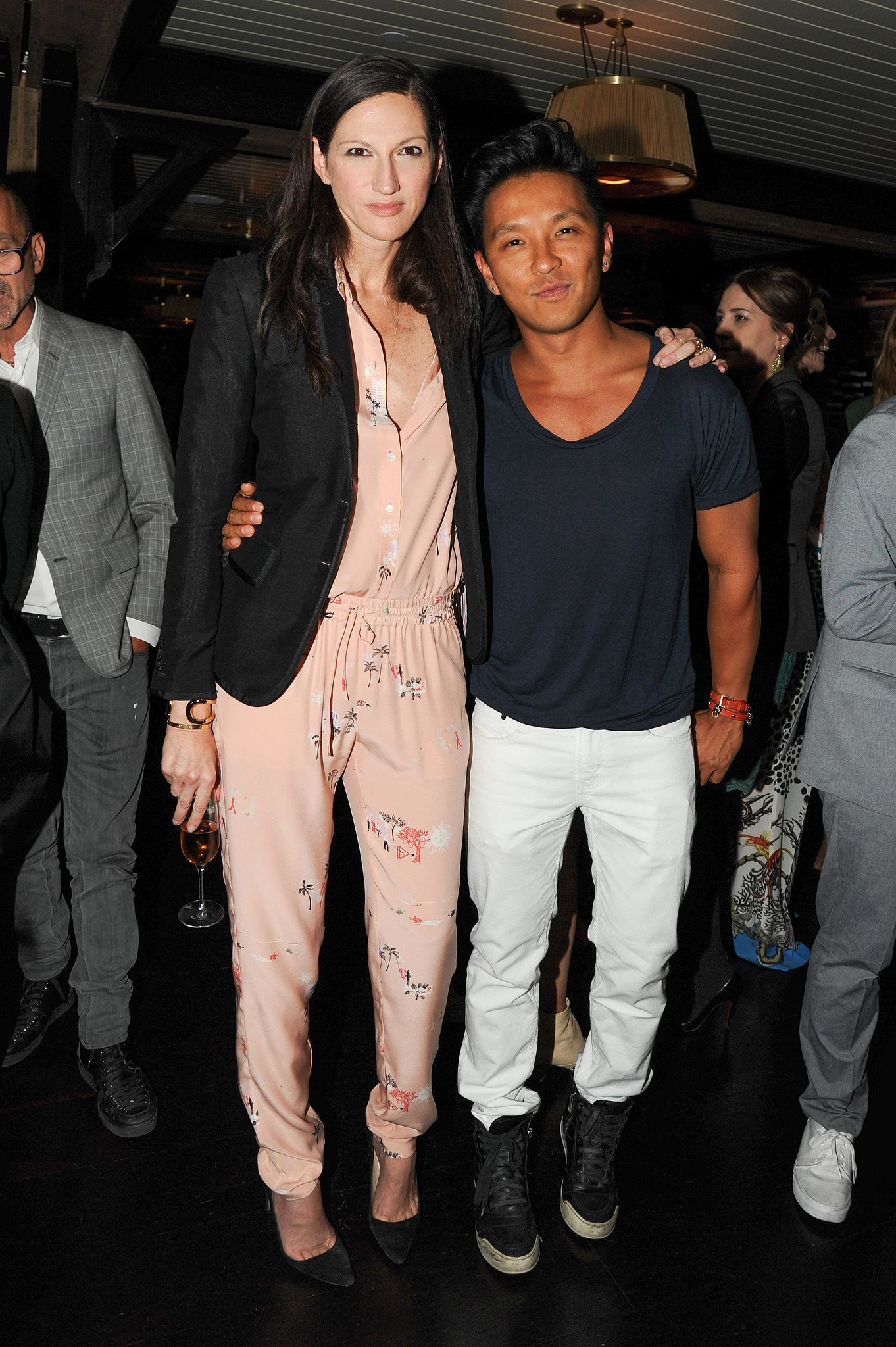 A silky peach jumpsuit got nighttime appropriate for a J.Crew party with designer Prabal
