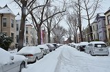 The streets of Washington DC were filled with snow.