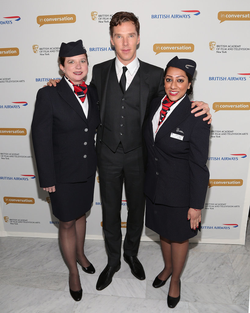 Benedict Cumberbatch met with British Airways stewardesses at a BAFTA Q&A in NYC on Thursday.