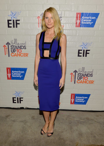 We're pretty sure this cobalt David Koma sheath was handmade for Gwyneth. Dainty Louboutin pumps completed her Hollywood style.