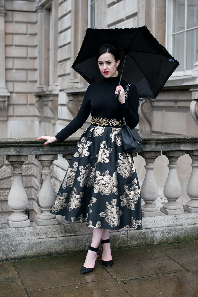 Nothing says drama like a full skirt, and the brocade detail of this one takes it to another level.