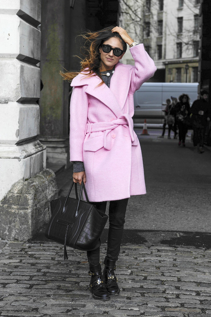 The season's must-have pink coat is perfect against an all-black look.