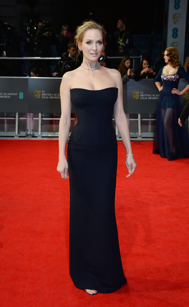 Uma Thurman on the 2014 BAFTA Red Carpet