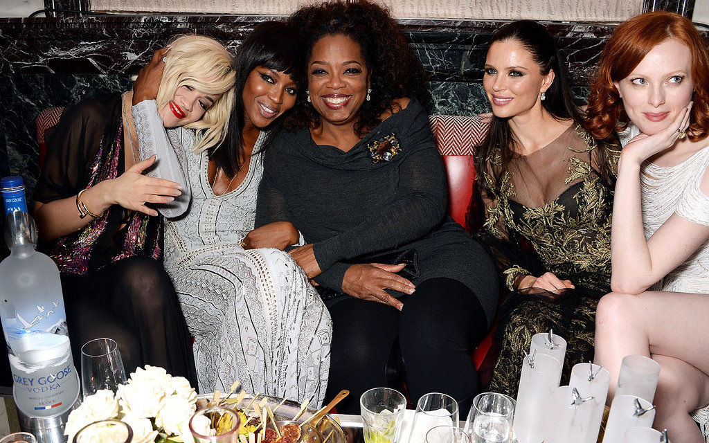 Rita Ora, Naomi Campbell, Georgina Chapman, and Karen Elson partied with Oprah Winfrey at the Weinstein Company bash after the BAFTAs in London.