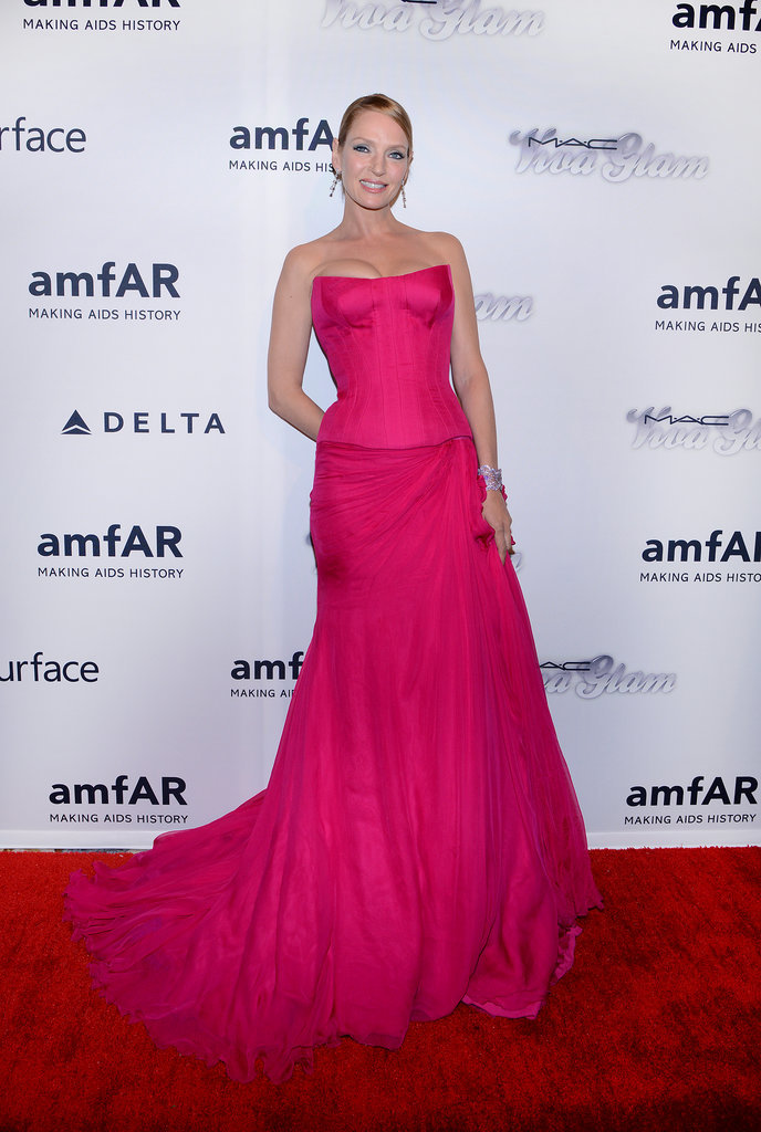 Uma Thurman in Versace at the amfAR Inspiration Gala